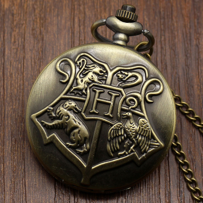 Bronze Copper Antique Style <font><b>Hogwarts</b></font> School of Witchcraft and Wizardry Badge Quartz Pocket Watch <font><b>Necklace</b></font> for Men Women Children image