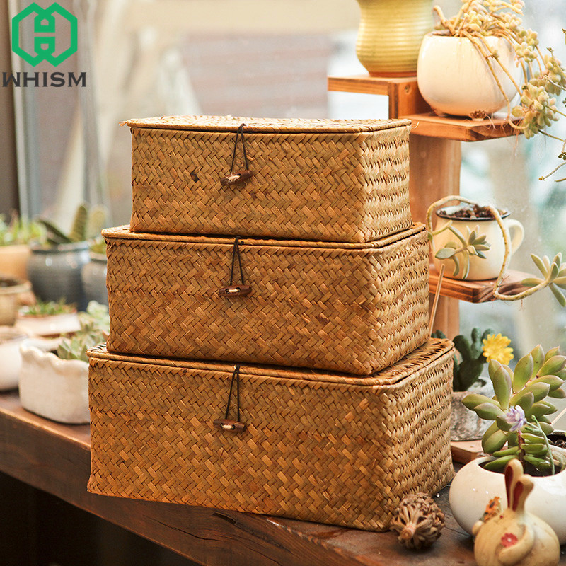 WHISM Woven Storage Basket With Lid Rattan Sundries Storage Box Wicker Basket Handmade Sorting Boxes Seagrass Jewelry Organizer