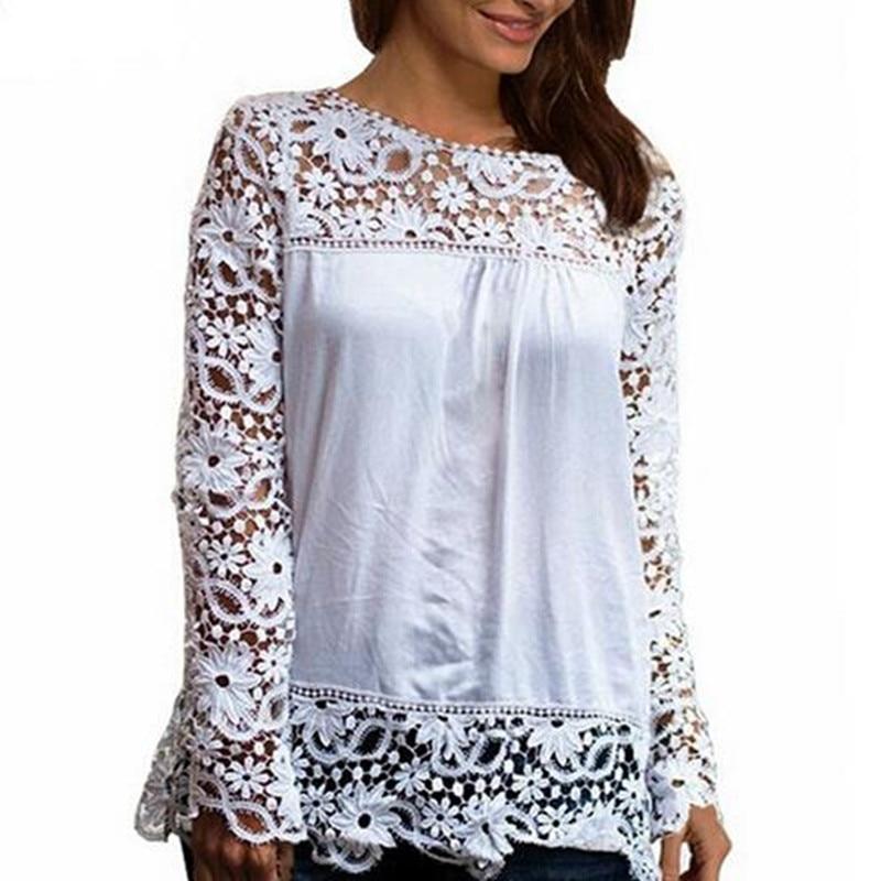 Adogirl 9 Colori Blusas Femininas 2016 Donne Manica Lunga Camicette Ricamate Femminile Floreale Del Merletto Del Crochet Camicie Più Il Formato XS-5XL