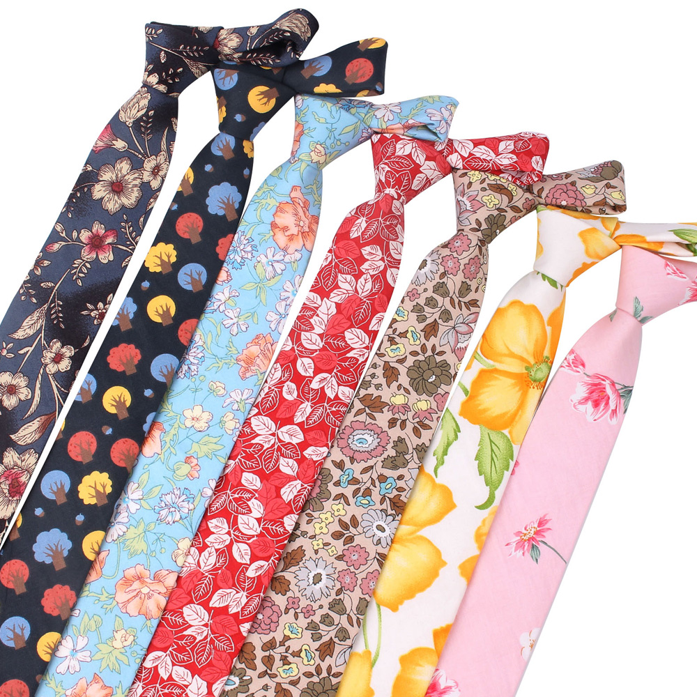 Floral Print Tie For Men Women Skinny Cotton Neck Tie For Wedding Business Casual Fashion Neckties Classic Suits Slim Neck Ties