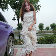 Long dress heavy sequined tassel tank dress pink color sleeveless dresses