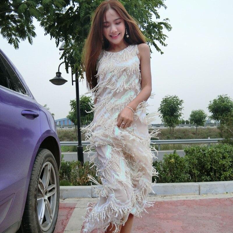Longue robe lourd paillettes gland réservoir robe rose couleur sans manches robes