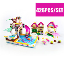 New Friends Heartlake City Swimming Pool fit friends city figures Model Building Blocks kid DIY Bricks Toys for Girls kid gift mary maccracken city kid