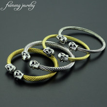 feimeng jewelry Men's Fashion Cool Bangle Punk Opening Steel Wire Skull Bracelet High Quality Cable Cuff Skeleton Bracelet(China)