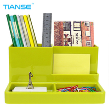 TIANSE multi-function Pen holder pencil organizer PP plastic pen pot storage stand for desktop pencil cases office stationery