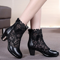 genuine leather female spring and autumn cutout mesh boots medium heel shoes women's martin boot