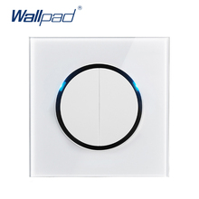 Wallpad 2019 New Arrival 2 Gang 1 Way Random Click Push Button Wall Light Switch With LED Indicator Crystal Glass Panel 16A