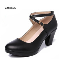 Elegant and Comfortable Women High Heel Shoes 2019 Large Size real Leather Shoes Woman Black Work Shoes High Heels 6 and 8 Cm
