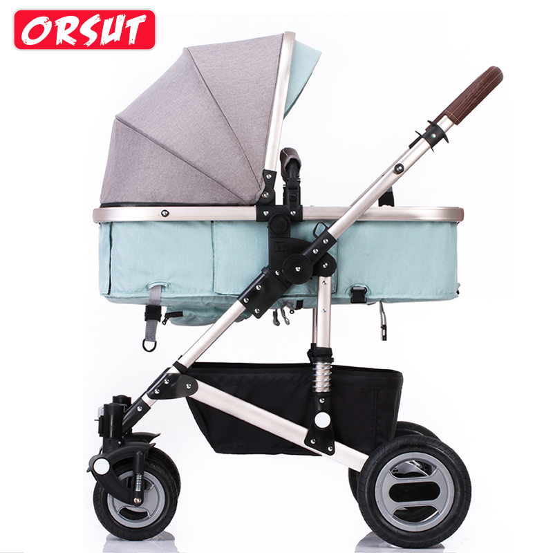 Orsut Baby Stroller with High Landscape Easy To Folding Two-way Four Wheel pram цена