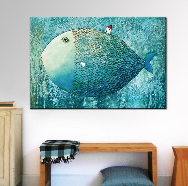 Stampe Parete Camera Da Letto : Pittura moderna nordico decorazione pesce azzurro immagine