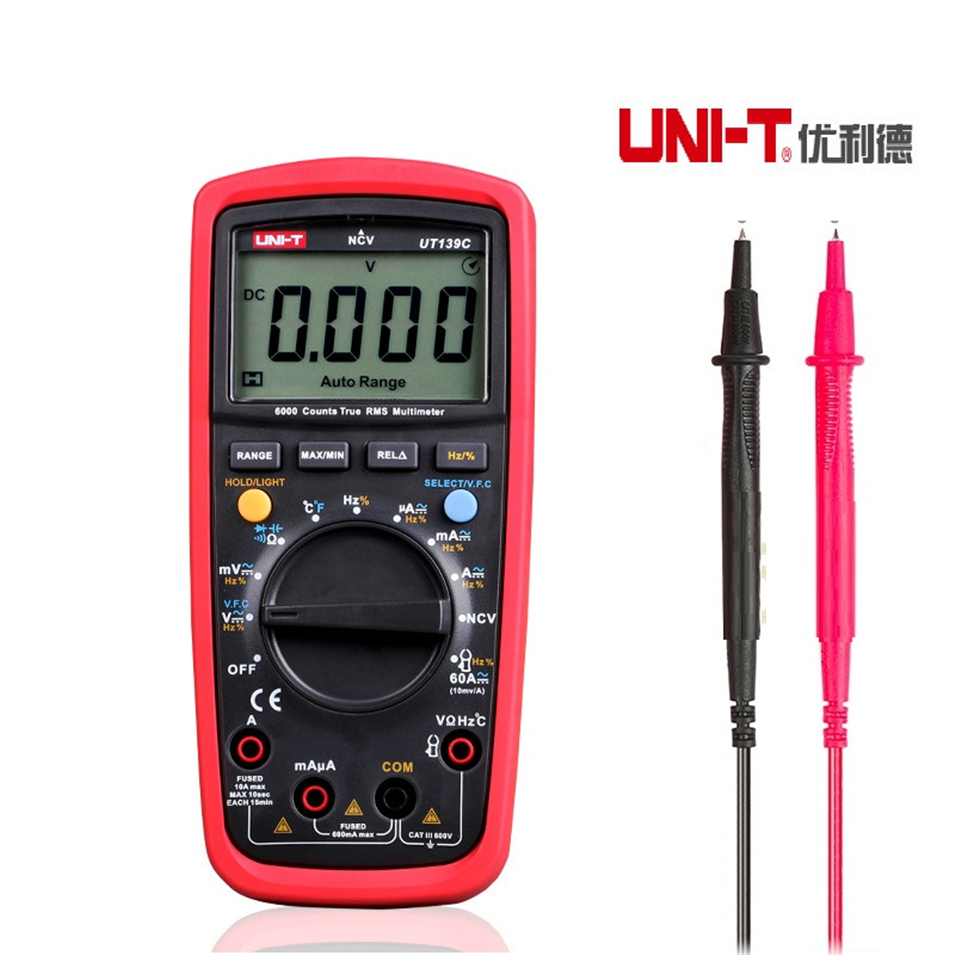 UNI-T UT139C True RMS 2.6 LCD Digital Multimeter Electrical Handheld Tester Multimetro LCR Meter Ammeter Multitester uni t ut139c true rms 2 6 lcd digital multimeter electrical handheld tester multimetro lcr meter ammeter multitester