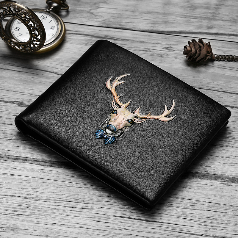 3D Animal Prints Deer Men Wallet Genuine Leather Brand Wallet Long Soft Cowhide Leather Short Purse