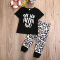 2pcs Newborn Kids Baby Girls Clothes Summer Short Sleeve Cotton Letter T-shirt Tops+Long Leopard Pants Leggings Outfits Set