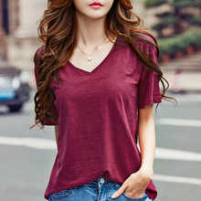 2017 new summer short-sleeved women's T-shirt bamboo wool V-neck loose simple primer shirt compassionate large tide loaded(China)