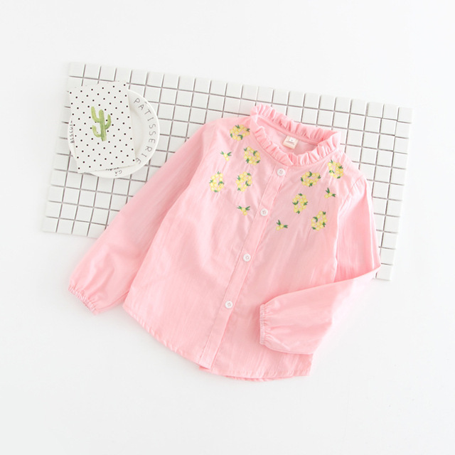 Baby Girl Flower Embroidery Cotton Shirts Blouses,2017 Kids Girls Lace Collar Princess Tops Shirt Clothes