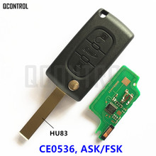 QCONTROL Car Remote Key for PEUGEOT 207 208 307 308 408 Partner Keyless Entry (CE0536 ASK/FSK, 3 Buttons HU83 Blade)