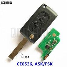 QCONTROL kluczyk samochodowy z pilotem do PEUGEOT 207 208 307 308 408 Partner dostęp bezkluczykowy (CE0536 ASK/FSK, 3 przyciski HU83 Blade)