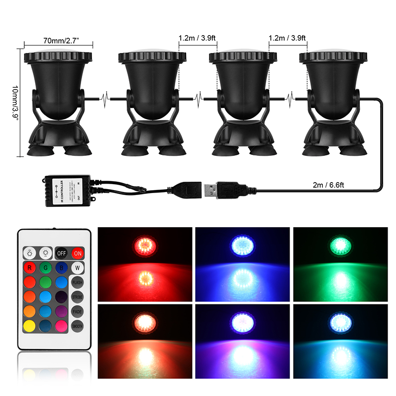 4 Submersible LED RGB Pond Spot Light for Underwater Pool Fountain Decorative Night Lighting Lamp Underwater