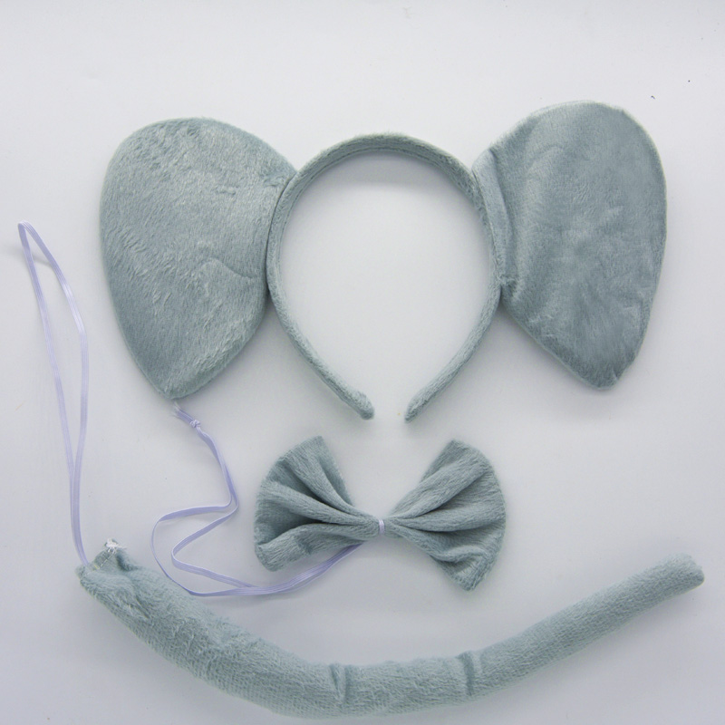 3 Pcs Set Kids Cute Animal Ears Headband Party Tie And Tail Cosplay Costume Party Elephants Hair Accessories Creative Gift