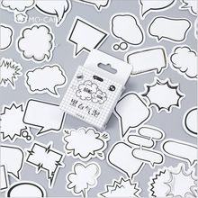 45Pcs/pack Black And white Bubble bang Dialog Box Decorative Planner Stickers DIY Diary Scrapbooking Phone Index Seal Stickers