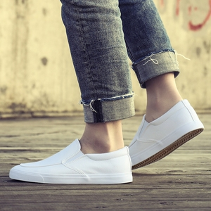 Image 4 - Fashion Men Loafers Slip On Casual Leather Shoes Mens Comfortable Moccasins Shoes Breathable Sneakers 2019 New Black White Flats