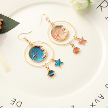 The new generous and elegant blue orange cosmic planet star crescent earring for girls in 2018