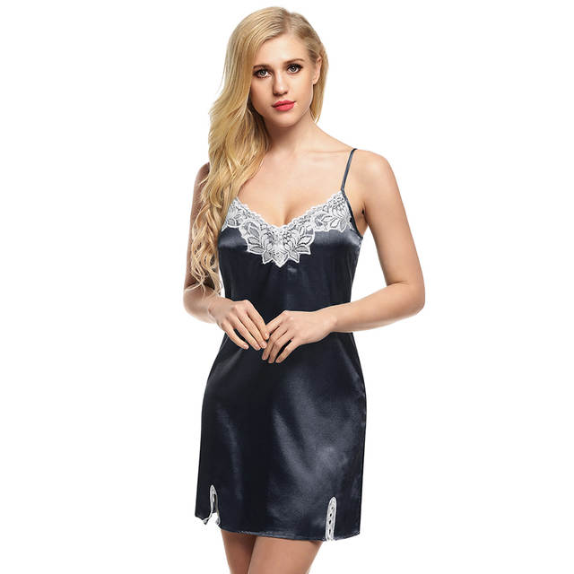 a3f0694be27 Online Shop Ekouaer Hot sale Women Nightgown Spaghetti strap Sexy Satin  Lace Splicing Nightwear V-Neck Summer Sleepwear Ladies Night Dress