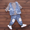No Shoes (4 sets/lot) New 2017 Children's Clothing Cat Outerwear & Striped T-shirt & Bottoms 3 Pcs Girls Clothing Sets 010335