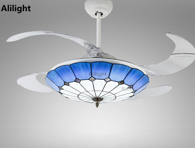 Mediterranean tiffany invisible ceiling fans light with remote mediterranean tiffany invisible ceiling fans light with remote control fan pendant hanging droplight light for dining aloadofball Images