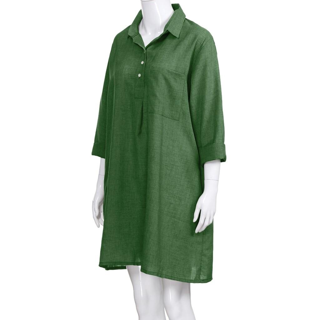 HTB1UmMgbfvsK1Rjy0Fiq6zwtXXaV Large Plus Size !!Best Sale 2019 Women's Solid Boho Turn-down Collar Dress 3/4 Sleeve Casual Pocket Button Dress Vestido @6