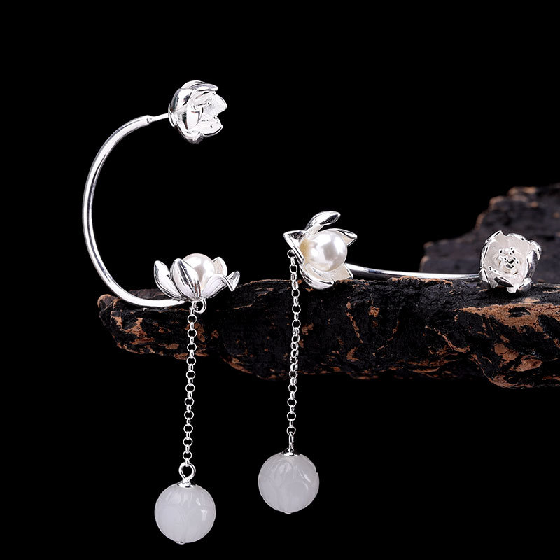 Character silver product S925 pure silver jewelry earring original design fashion lady hetian jade earrings wangCharacter silver product S925 pure silver jewelry earring original design fashion lady hetian jade earrings wang