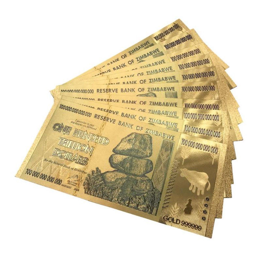 Us 1 65 42 Off Gold Foil Zimbabwe 100 Trillion Dollar Banknote Collection Value World Currency Bill Paper Money In Banknotes From Home Garden