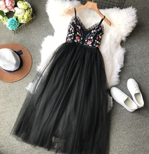 NiceMix Summer 2019 Thin Strap Celebrity Party Dress V - Neck Sexy Backless Embroidery Flowers High Waist Mesh Ponchos Wom