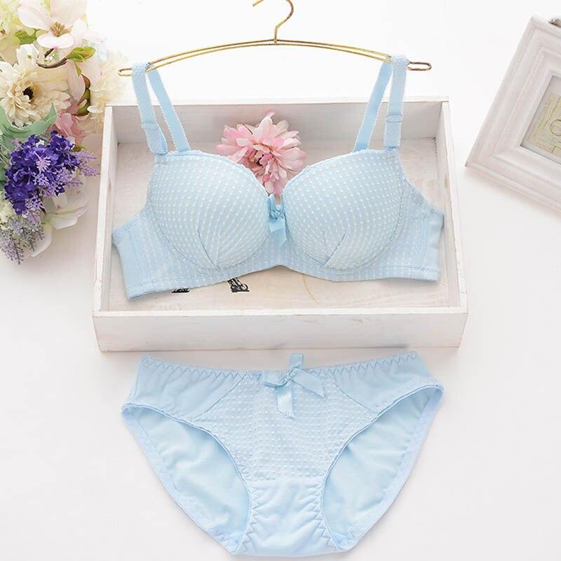 New cotton adjustment type gather   bra     set   sexy cute pastoral small fresh girl underwear underwear   bra   # 226 #