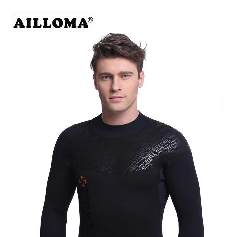 Ailloma 3 Mm Pria Diving Wetsuit Snorkeling Surfing Swimwear Jumpsuit Triathlon Microvillus Panjang Pria Scuba Dive Jaket Jas