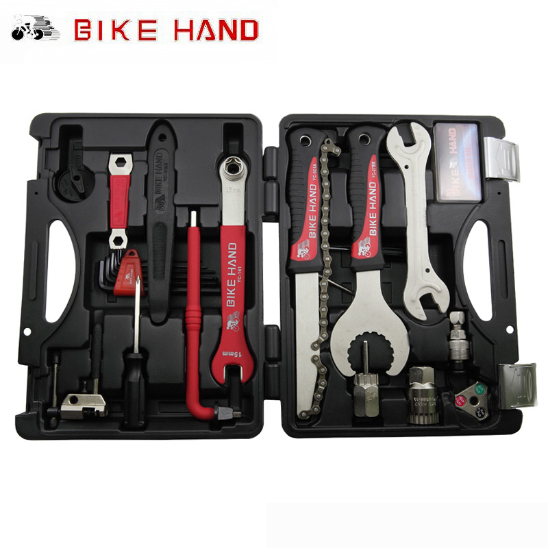 лучшая цена BIKEHAND 18 In 1 Multiful Bicycle Tools Kit Portable Bike Repair Tool Box Set Hex Key Wrench Remover Crank Puller Cycling Tools