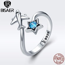 BISAER Real 925 Sterling Silver Female Travel Dream Plane Adjustable Finger Rings for Women Sterling Silver Jewelry S925 GXR322
