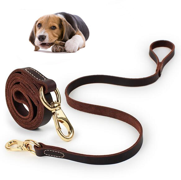 Dog Genuine Leather Lead Durable Strong Training Traction ...