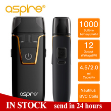 Aspire Pod Vape Nautilus AIO kit BVC 1.8ohm Coil Nic Salt Built-in 1000mAh battery 4.5/2ml Tank Atomizer E Cigarette pk Nord Kit цена и фото