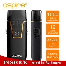 Aspire Pod Vape Nautilus AIO kit BVC 1.8ohm Coil Support Nic Salt Built-in 1000mAh battery 4.5/2ml E Cigarettes Vapeador pk avp цена