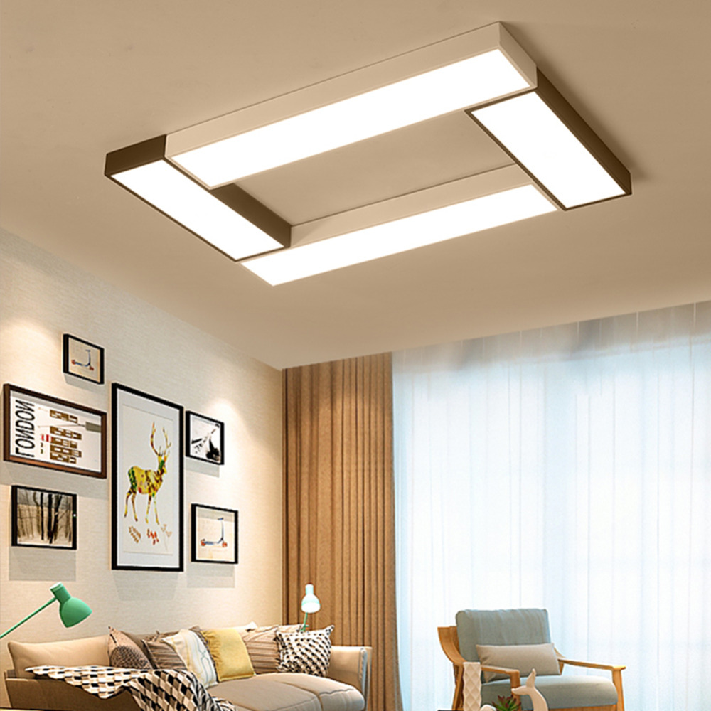 Modern Led Ceiling Light Panel Lamp Square Lighting Fixture Hall Surface Mount Flush Remote