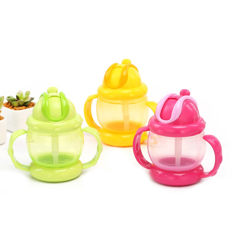 Babys Feeding Water Bottle Learning Drinking Sippy Cups Handles High Can Kids Newborns PP Straw Waterproof Cup
