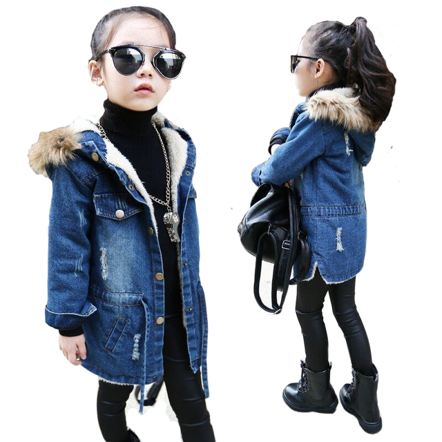 2018 New winter girls clothes denim jacket children plus thick velvet jacket long warm coat winter baby girl coats and jackets 2015 new women s winter coat thick padded hoodie lapel long parkas warm abrigos mujer korean female jacket navy blue