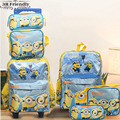 new arrival Despicable Me Banana boy  Kids Cartoon bags child Backpack boy Minions schoolbag3pcs one set  trolly school bag set