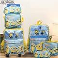 new arrival Despicable Me Banana boy  Kids Cartoon bags child Backpack boy Minions schoolbag3pcs one set  trolly school bag set