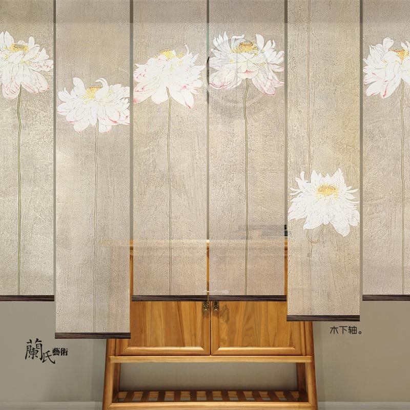 1 pcs Artist Original Design home decoration rodando partition soft translucent screen lotus curtain shrink freely Wall panels
