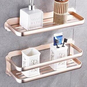 Image 5 - Prateleira do banheiro de alumínio prateleiras do banheiro montagem na parede prateleira do banheiro cozinha rack armazenamento fácil instalar