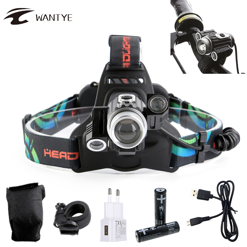 10000LM Zoom LED Cycling light T6+2XPE USB Rechargerable Bike light 4 Mode Waterproof Bicycle light Headlamp With 18650 Battery