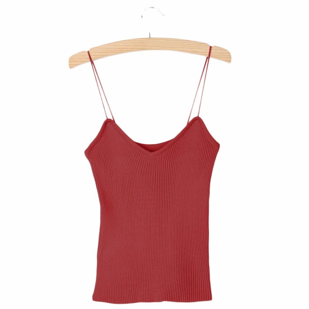 HTB1UmO6PVXXXXctXFXXq6xXFXXXf - REE SHIPPING 9 Colors Knitted Tank Tops Women Stretchable VNeck Slim JKP311