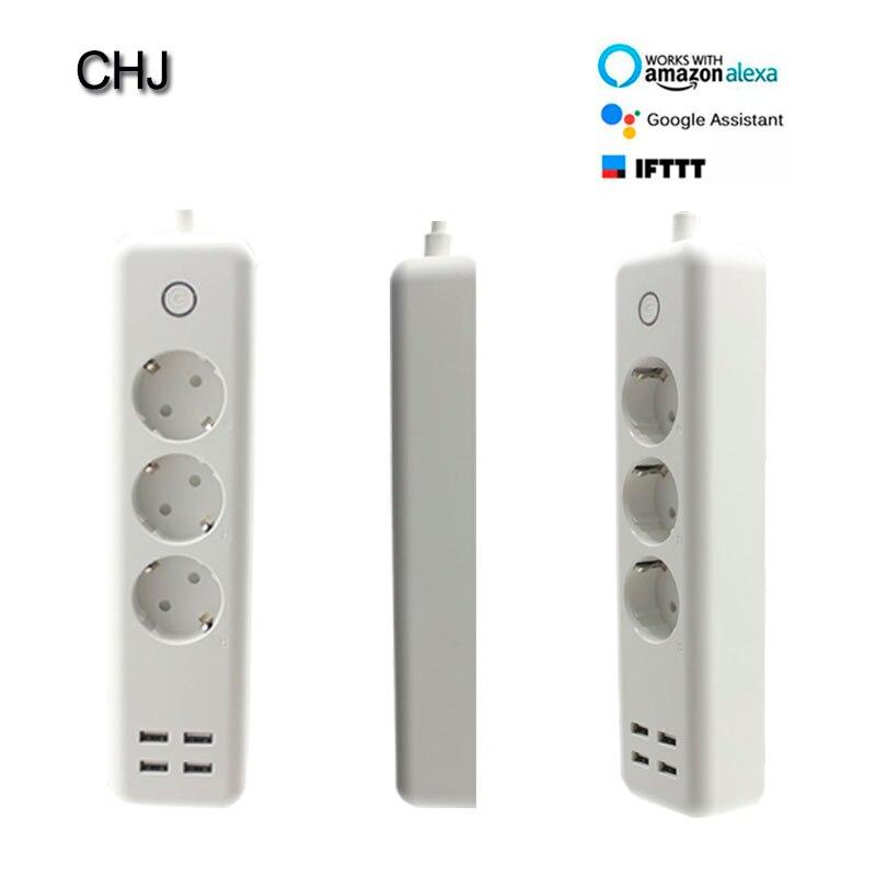Wi Fi розетка USB power Strip smart EU штекер перегрузки переключатель стабилизатор напряжения 3 розетки 4 порта USB зарядное устройство м 2 м 15A Wifi штекер
